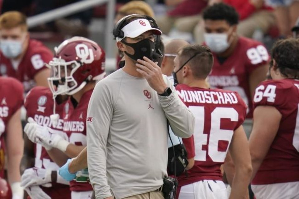 Photo -  OU football coach Lincoln Riley said the Sooners — himself, coaches, the players affected — have