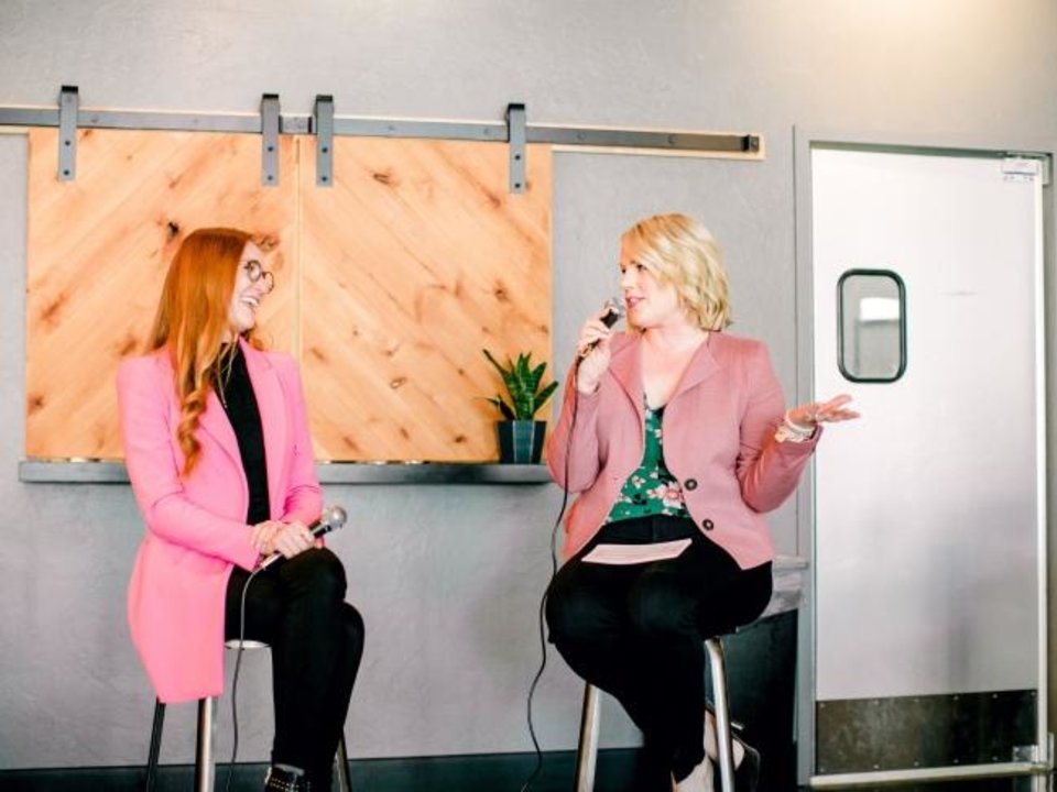 Photo -  Lauren Green McAfee talks with Jana B. Gridley at the inaugural Polished OKC lunch at Packard's, 201 NW 10. [Water and Grace Photography]