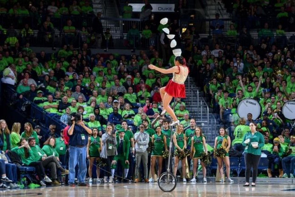 Photo -  Red Panda, seen during a 2018 Notre Dame women's basketball game, was in Indianapolis for the Big Ten tournament when the sports world shut down. [Matt Cashore/USA TODAY Sports]