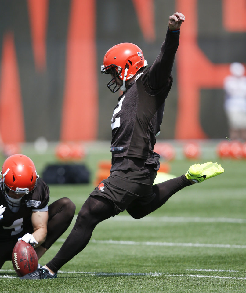 Photo - Cleveland Browns' Austin Seibert kicks during an NFL football organized team activity session at the team's training facility Wednesday, May 15, 2019, in Berea, Ohio. (AP Photo/Ron Schwane)