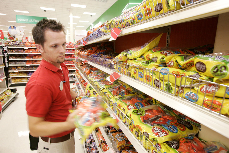 dustin lurvey hard lines manager stocks halloween candy at the target store on north pennsylvania in oklahoma city oklahoma october 27 2009 - Halloween Stores Oklahoma City