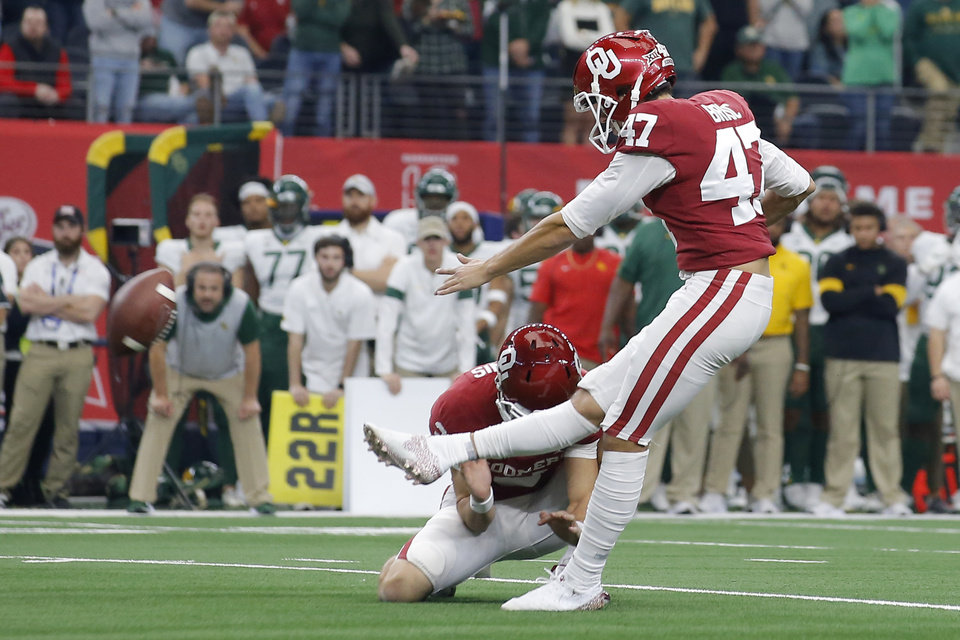 Photo - Oklahoma's Gabe Brkic (47) kicks a field goal during the Big 12 Championship Game between the University of Oklahoma Sooners (OU) and the Baylor University Bears at AT&T Stadium in Arlington, Texas, Saturday, Dec. 7, 2019. Oklahoma won 30-23. [Bryan Terry/The Oklahoman]