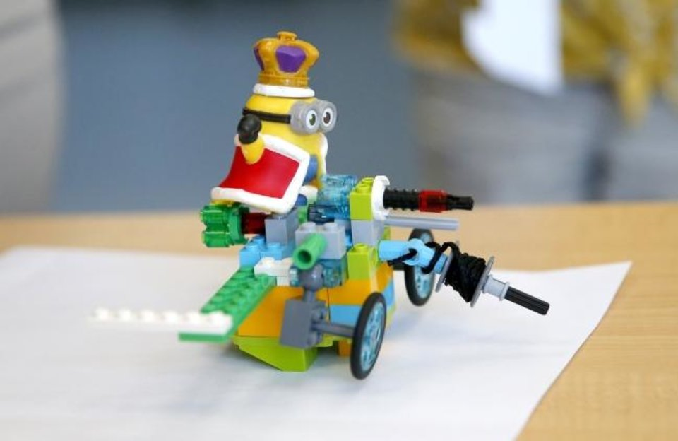 Photo -  A Lego robot has been assembled at iCode Edmond. [Sarah Phipps, The Oklahoman]