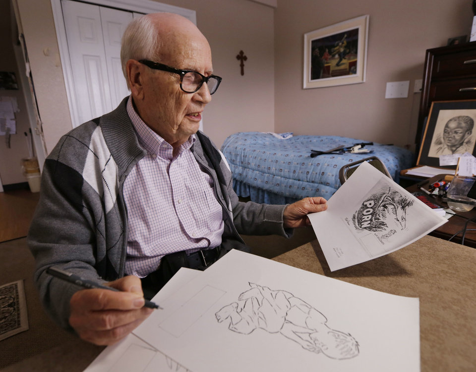 Photo -  Edmond resident Hall Duncan works on illustrations for a book about the sex trafficking of children. [PHOTO BY PAUL HELLSTERN, THE OKLAHOMAN]