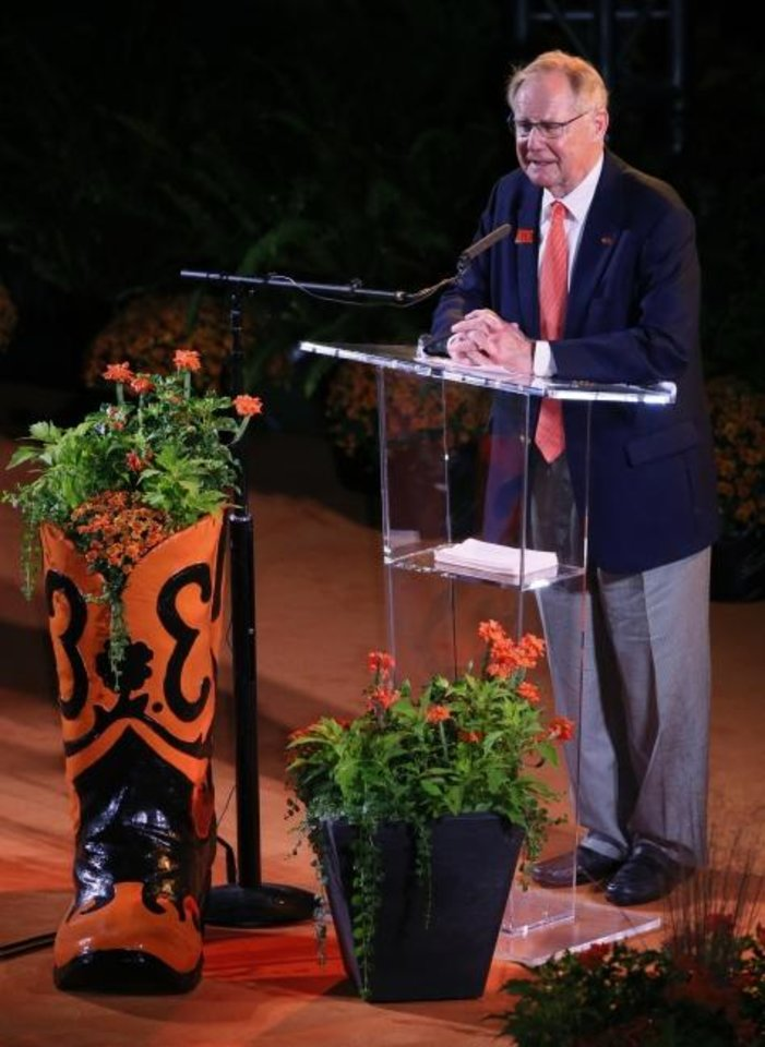 Photo -  Oklahoma State president Burns Hargis speaks last year during the Celebration of Life for OSU alumnus and benefactor T. Boone Pickens at Gallagher-Iba Arena in Stillwater. [THE OKLAHOMAN ARCHIVES]