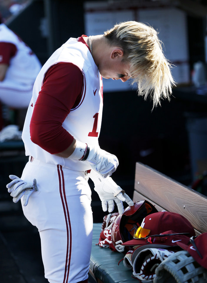 Oklahoma s Steele Walker (1) stands in the dugout as the University of Oklahoma  Sooner ac03b08ab