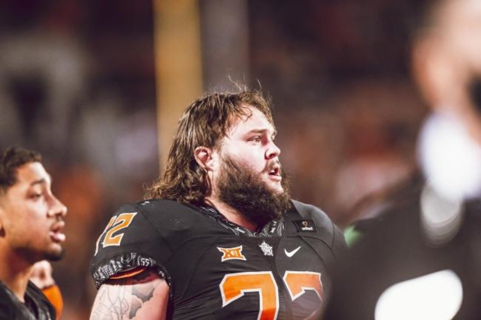 Photo -  Oklahoma State offensive lineman Josh Sills has been a vocal leader for the Cowboys since Saturday's loss to Texas. [Bruce Waterfield/Courtesy of OSU Athletics]