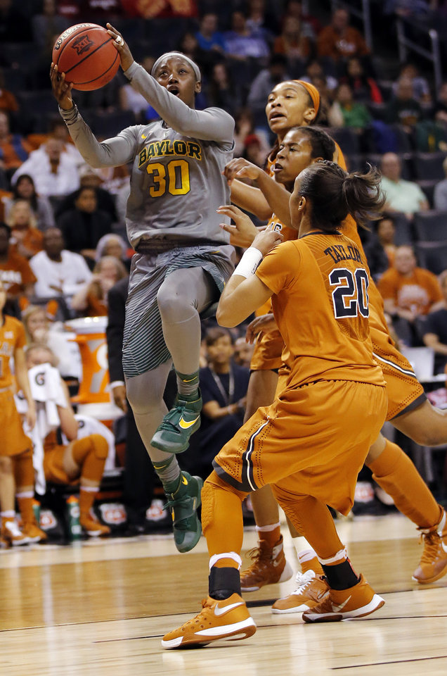 Photo - Baylor's Alexis Jones (30) takes the ball to the hoop during the Big 12 Women's Basketball Championship final between the Texas Longhorns and the Baylor Lady Bears at Chesapeake Energy Arena in Oklahoma City, Monday, March 7, 2016. Photo by Nate Billings, The Oklahoman