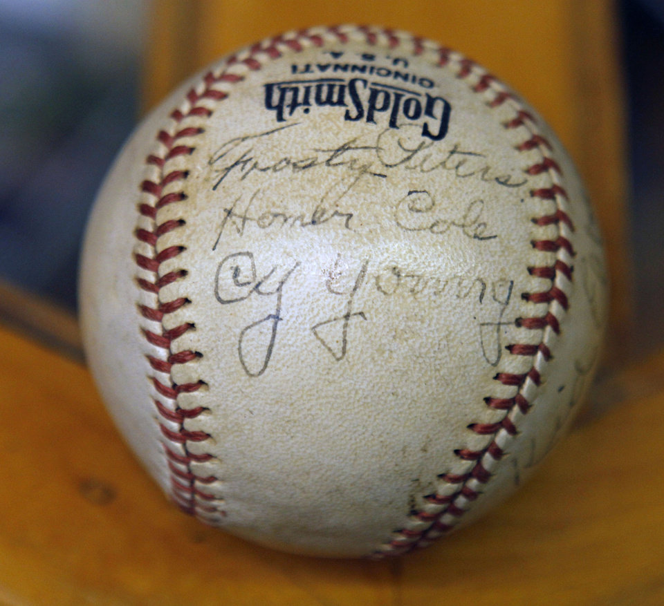 Photo - BASEBALL COLLECTION: CY YOUNG: This is one of the items in a collection of autographed baseballs on display at the Oklahoma Sports Hall of Fame in Guthrie, OK, Thursday, April 11, 2013,  By Paul Hellstern, The Oklahoman