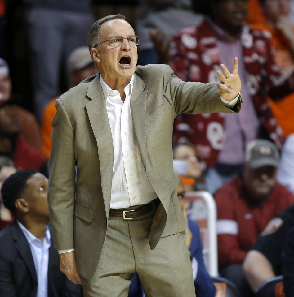 Photo - Oklahoma coach Lon Kruger shouts instructions during an NCAA men's Bedlam basketball game between the Oklahoma State University Cowboys (OSU) and the University of Oklahoma Sooners (OU) at Gallagher-Iba Arena in Stillwater, Okla., Saturday, Feb. 22, 2020. Oklahoma State won 83-66. [Bryan Terry/The Oklahoman]