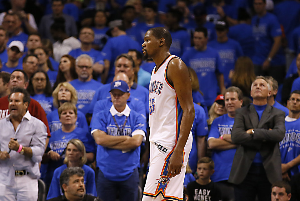 Photo - Oklahoma City's Kevin Durant (35) reacts during Game 6 of the Western Conference finals in the NBA playoffs between the Oklahoma City Thunder and the Golden State Warriors at Chesapeake Energy Arena in Oklahoma City, Saturday, May 28, 2016. Photo by Sarah Phipps, The Oklahoman