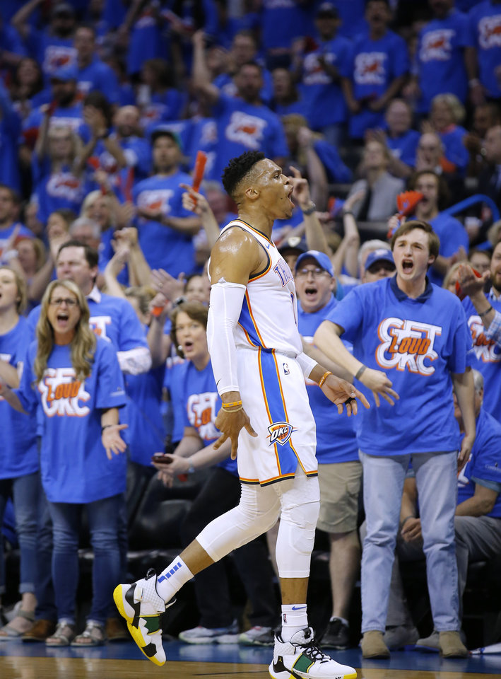 Photo - Oklahoma City's Russell Westbrook (0) celebrates a 3-point basket during Game 4 in the first round of the NBA playoffs between the Portland Trail Blazers and the Oklahoma City Thunder at Chesapeake Energy Arena in Oklahoma City, Sunday, April 21, 2019.  Photo by Sarah Phipps, The Oklahoman