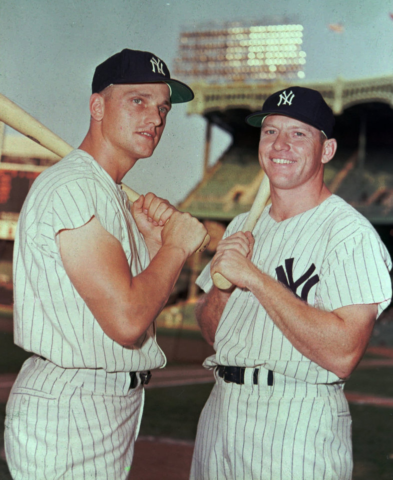 Photo - New York Yankees baseball players Roger Maris and Mickey Mantle are shown in this 1961 file photo. AP file photo