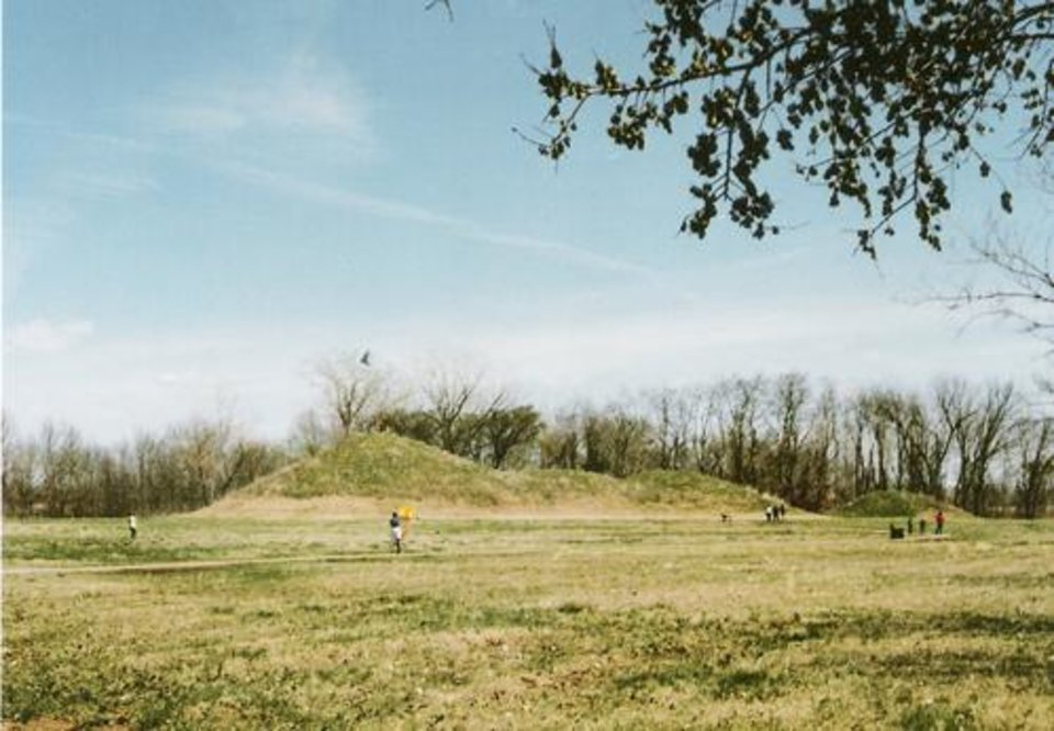 Photo - Craig Mount, one of the burial mounds at the Spiro Mounds Archaeological Center. (OKLAHOMAN ARCHIVES)