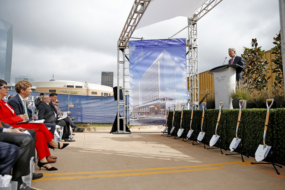 Photo - Omni Hotels & Resorts founder Robert Rowling speaks during a ground breaking ceremony for a new 17-story, 605 room Omni hotel in Oklahoma City, Monday, Oct. 1, 2018. Photo by Bryan Terry, The Oklahoman