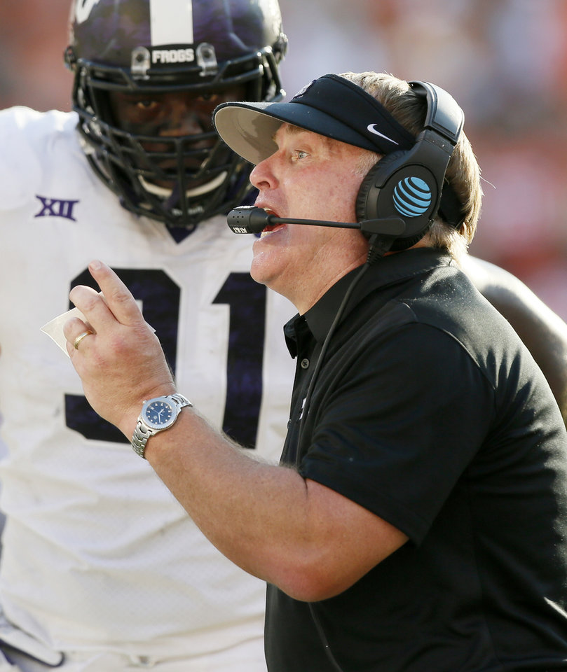 Photo -  Coach Gary Patterson and TCU have led the Big 12 in total defense three times since joining the league in 2012. [Photo by Nate Billings, The Oklahoman Archives]