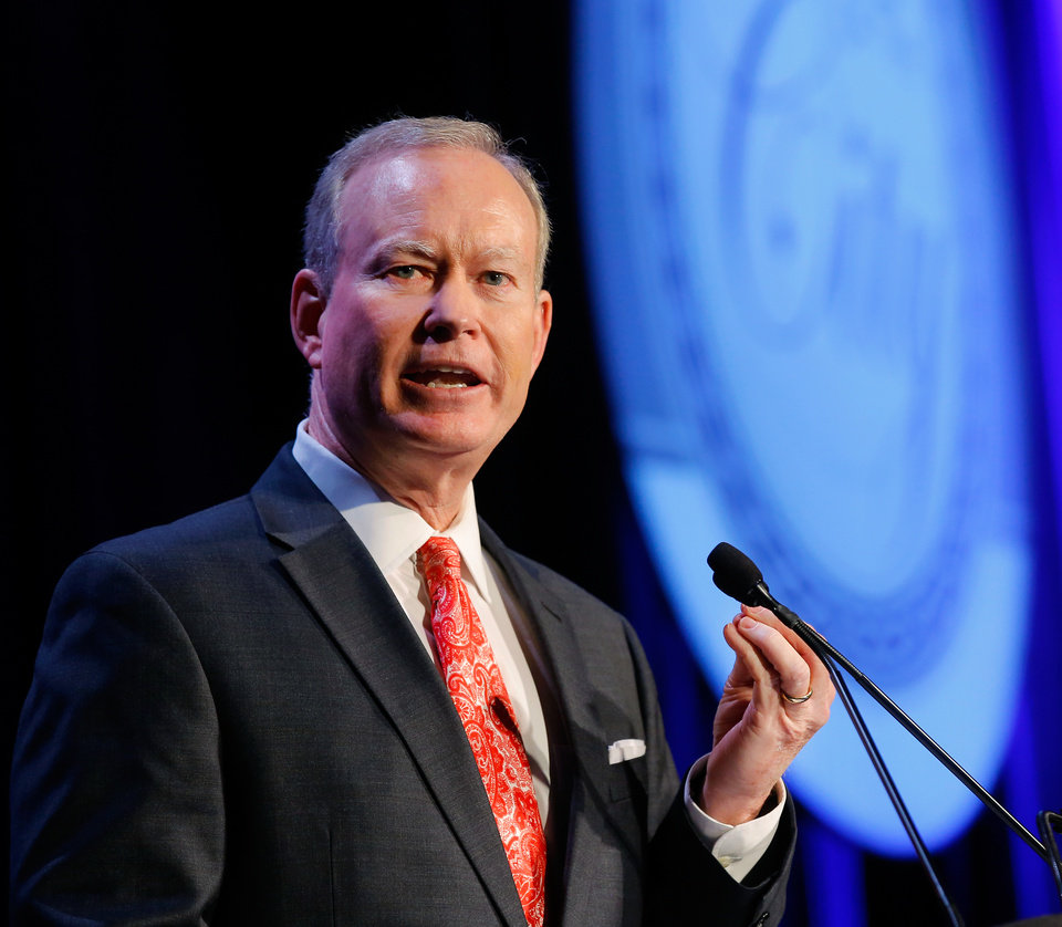 Photo - Oklahoma City Mayor Mick Cornett delivers the annual State of the City Address to more than 1500 people inside the Cox Convention Center on Wednesday afternoon, Jan.  13, 2016. The luncheon was hosted by the Greater Oklahoma City Chamber.  Photo by Jim Beckel, The Oklahoman.