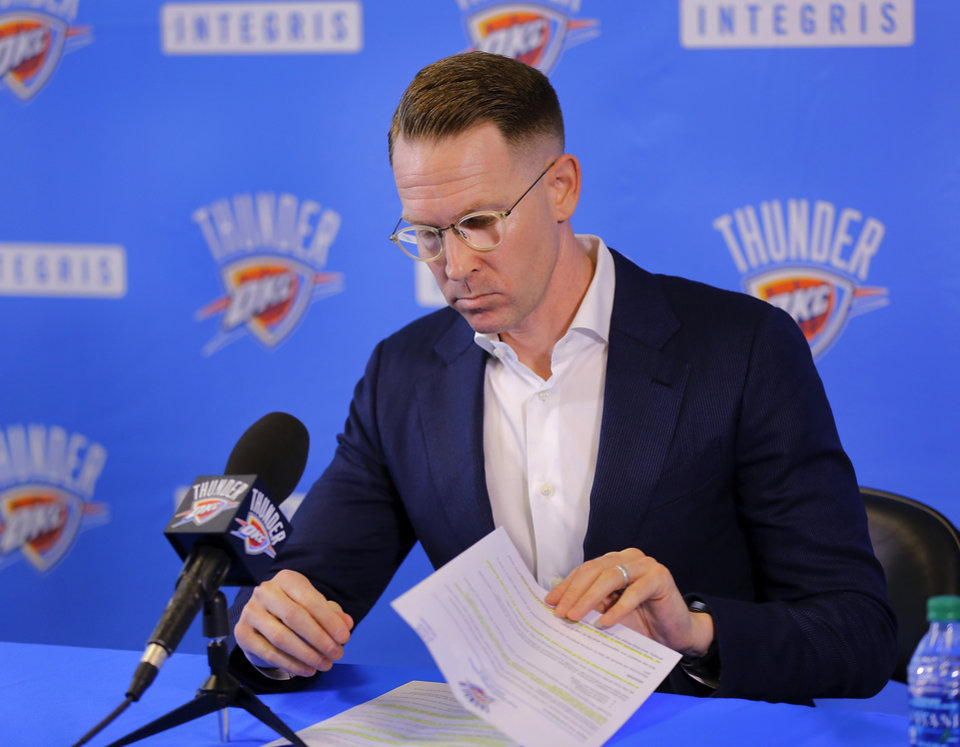 Photo - OKC Thunder G.M. Sam Presti discusses the season with reporters on Monday, June 6, 2016.   Photo by Jim Beckel, The Oklahoman