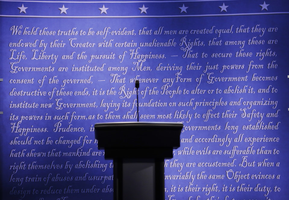 Photo - The stage is set for the presidential debate between Democratic presidential candidate Hillary Clinton and Republican presidential candidate Donald Trump at Hofstra University in Hempstead, N.Y., Sunday, Sept. 25, 2016. (AP Photo/Patrick Semansky)