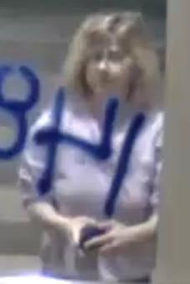 Photo - Oklahoma City police are looking to question a woman in connection after racist and homophobic graffiti was found at two Oklahoma City buildings Thursday. [Provided by the Oklahoma City Police Department]
