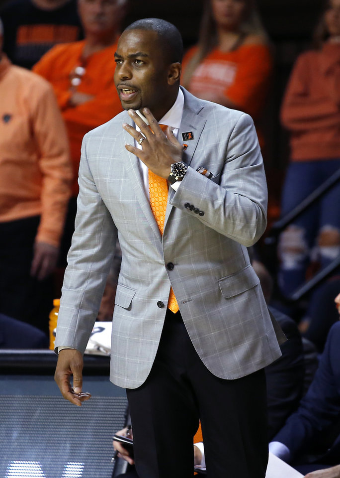 Photo - Oklahoma State coach Mike Boynton during an NCAA basketball game between the Oklahoma State University Cowboys (OSU) and the Texas Longhorns at Gallagher-Iba Arena in Stillwater, Okla., Wednesday, Jan. 15, 2020. Oklahoma State lost 76-64. [Bryan Terry/The Oklahoman]