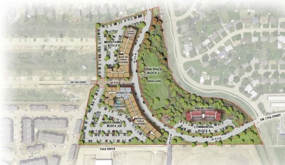 Photo -  This drawing shows an aerial view of The Curve Apartments in Moore. [CITY OF MOORE]