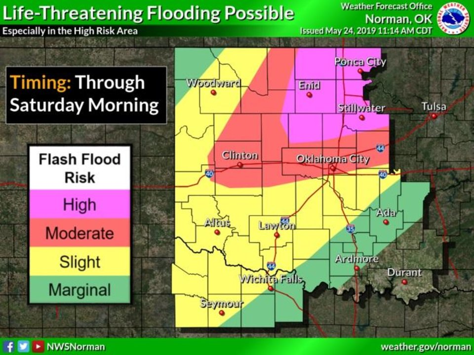 Photo - Areas of Oklahoma could see life-threatening flood conditions, according to the National Weather Service.