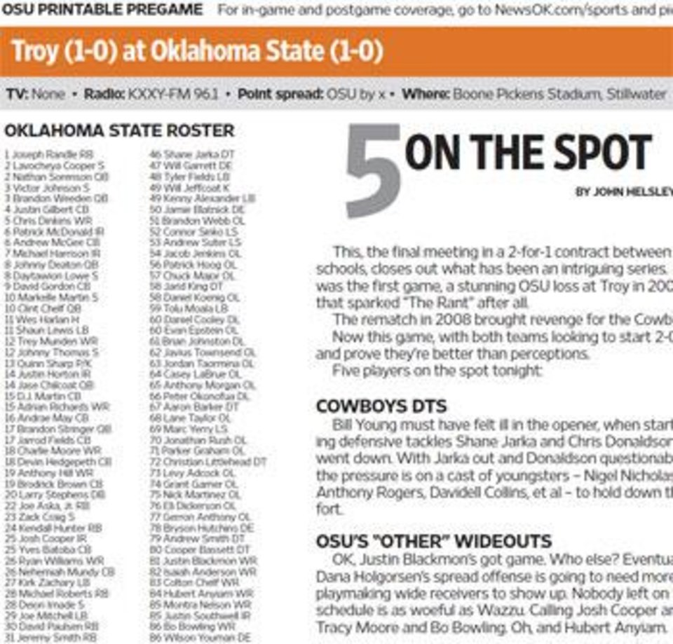 Download the OSU-Troy Pregame Package - Article Photos