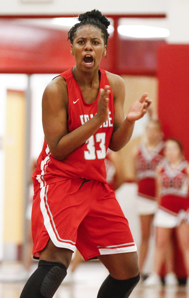 Photo - Prague's Chantae Embry (33) reacts after a play during a girls high school basketball game in Dec. 2017. Embry will play for Norman this season. [Nate Billings, The Oklahoman]