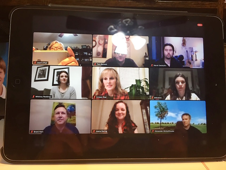 Photo - Joan Bryant, Tara Burnett, Marat Gabdullin, top; Whitney Redding, Kristen Ferate, Deborah Kos, center, and Brent Hart, Jeanna Gering, Alexander Mickelthwate., bottom row, on the Zoom screen.   PROVIDED PHOTO