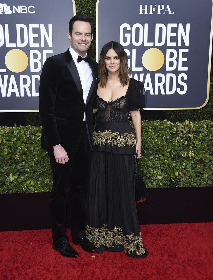 Photo - Bill Hader, left, and Rachel Bilson arrive at the 77th annual Golden Globe Awards at the Beverly Hilton Hotel on Sunday, Jan. 5, 2020, in Beverly Hills, Calif. [Photo by Jordan Strauss/Invision/AP]