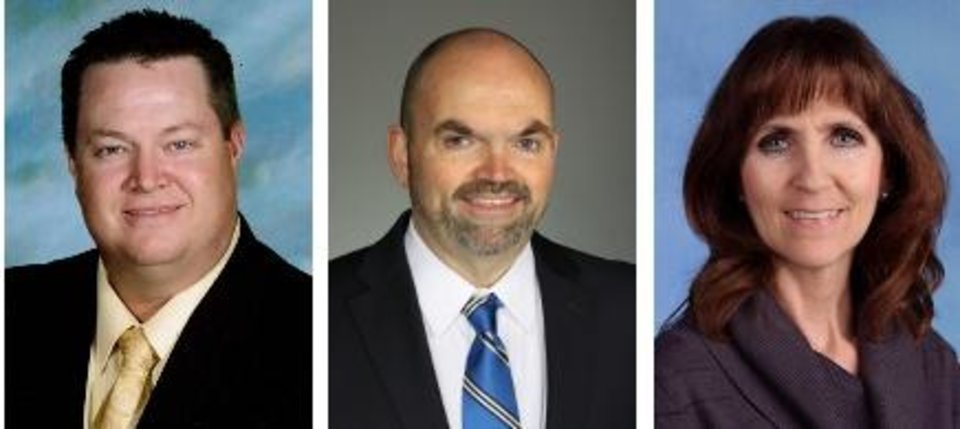 Photo - Pictured are superintendents of the three districts to benefit from the grant, from left, Dr. Jason James, Alex School Superintendent; Dr. John Cox, Peggs School Superintendent, and Geri Gilstrap, Stilwell Public Schools Superintendent.