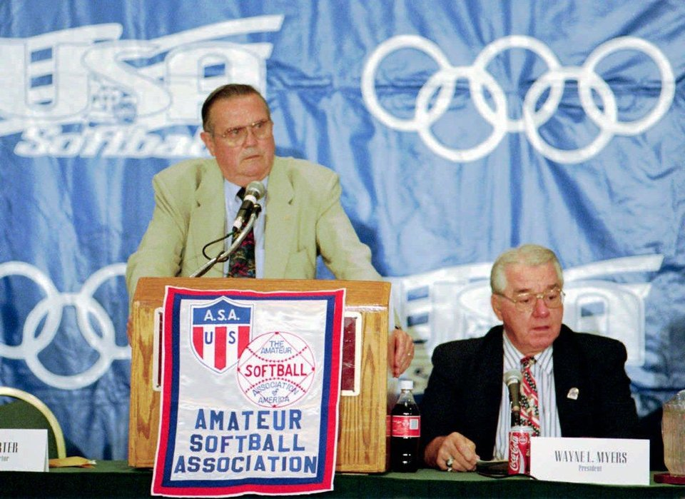Photo - ASA Executive Director Don Porter and ASA President Wayne Myers at Monday press  conference to announce first-ever Olympic softball team. (Staff Photo by Roger Klock)