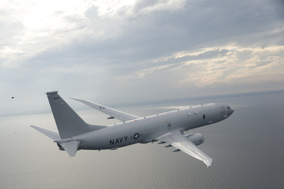 Photo -  A P-8 Poseidon built by Boeing makes a test flight. So far, Boeing has delivered nearly 70 of the aircraft to the U.S. Navy. [Photo provided by Boeing]