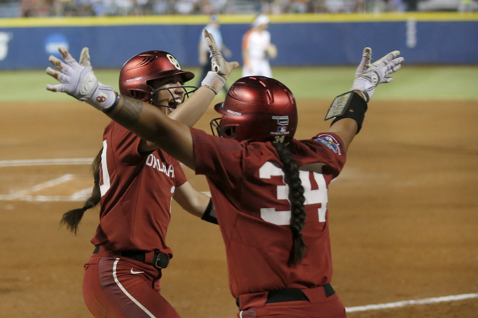 Photo - Oklahoma's Caleigh Clifton (20) and Oklahoma's Falepolima Aviu (34)  celebrates a score in the first inning during a Women's College World Series between Oklahoma State (OSU) and Oklahoma at USA Softball Hall of Fame Stadium in Oklahoma City,  Friday, May 31, 2019.  [Sarah Phipps/The Oklahoman]