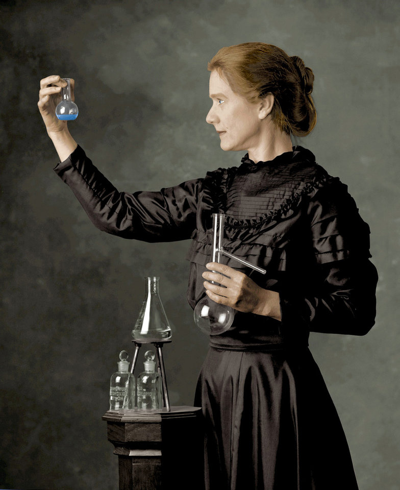 Photo - Susan Marie Frontczak portrays Polish chemist and physicist Dr. Marie Curie. Photo provided by OSU.
