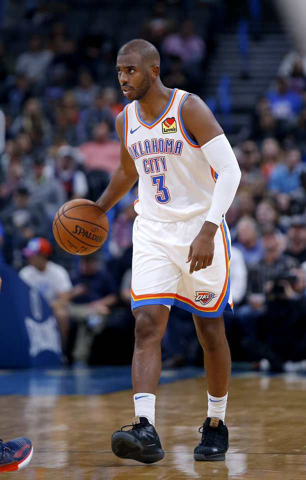 Photo - Oklahoma City's Chris Paul (3) brings the ball up court during the NBA preseason game between the Oklahoma City Thunder and the New Zealand Breakers at the Chesapeake Energy , Thursday, Oct. 10, 2019. [Sarah Phipps/The Oklahoman]