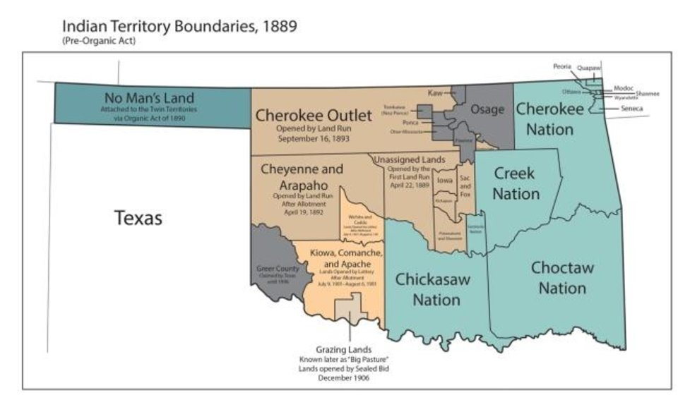 Photo -  This map, from the Oklahoma Historical Society, shows the reservation boundaries of the Five Tribes: the Cherokees, Chickasaws, Choctaws, Creeks and Seminoles.