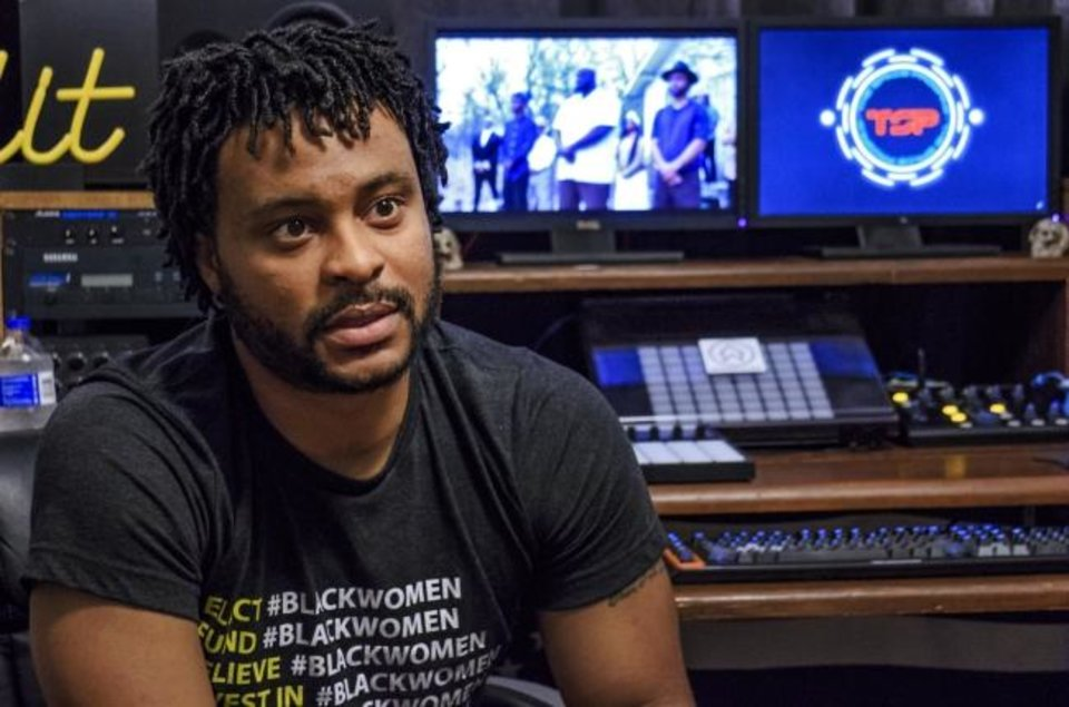 Photo -  Stevie Johnson speaks about the album and videos he created as part of his doctoral dissertation at Wrong House Records in Oklahoma City. [Chris Landsberger/The Oklahoman]