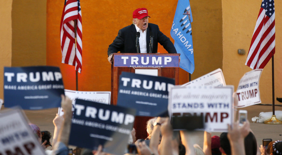 Photo - Republican presidential candidate Donald Trump speaks at a rally during the Oklahoma State Fair at State Fair Park in Oklahoma City, Friday, Sept. 25, 2015. Photo by Nate Billings, The Oklahoman