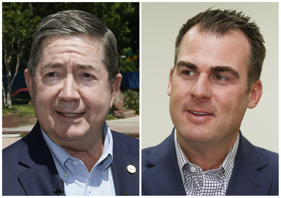 Photo - FILE - This combination of file photos shows Oklahoma gubernatorial candidates from left, Democrat Drew Edmondson and Republican Kevin Stitt. (AP Photo/Sue Ogrtocki, File)