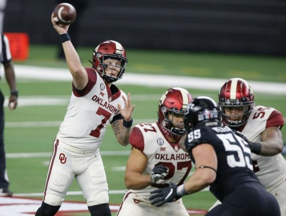 Photo -  Oklahoma's Spencer Rattler (7) throws a pass during a 27-21 win over Iowa State in the Big 12 Championship Game on Dec. 19 at AT&T Stadium in Arlington, Texas. [Bryan Terry/The Oklahoman]