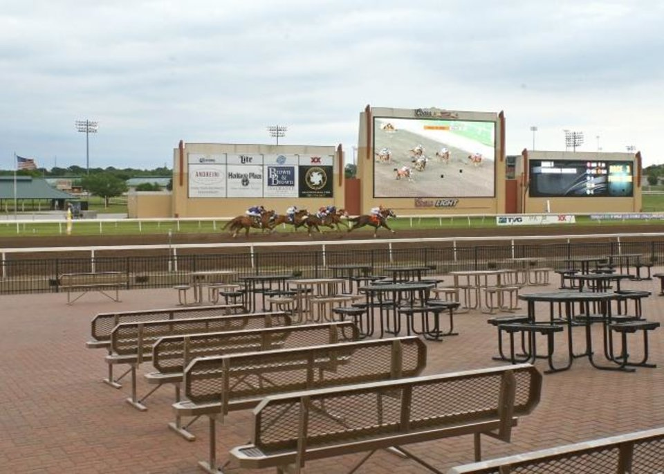 Photo -  Horse racing has continued at Remington Park since March 19 but without fans because of COVID-19. [Dustin Orona/Remington Park]