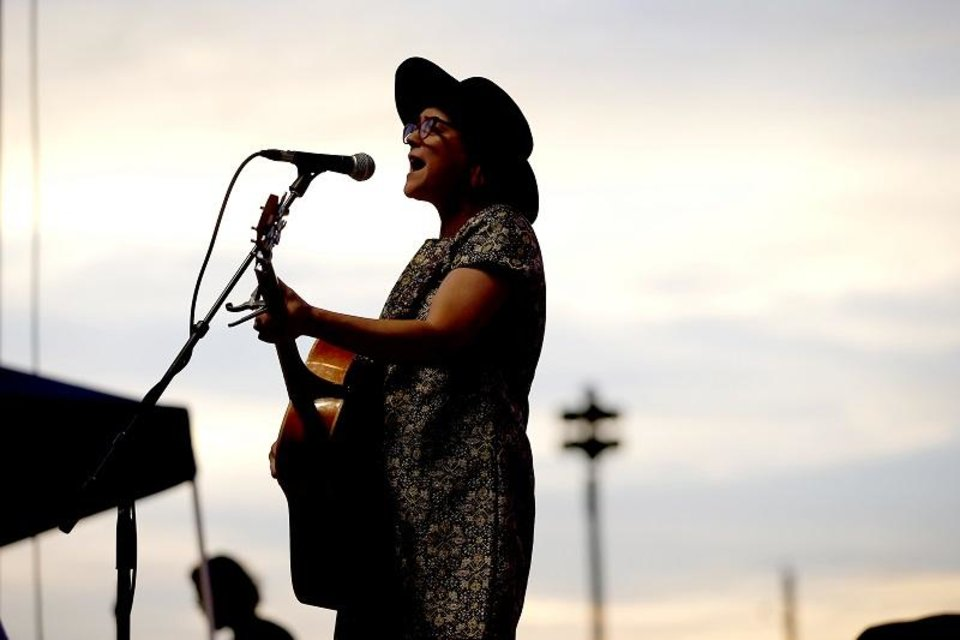 Photo - Carter Sampson performs during the Woody Guthrie Folk Festival in Okemah, Okla., Thursday, July 12, 2018. She will perform during the Scissortail Park grand opening weekend. [Bryan Terry/The Oklahoman Archives]