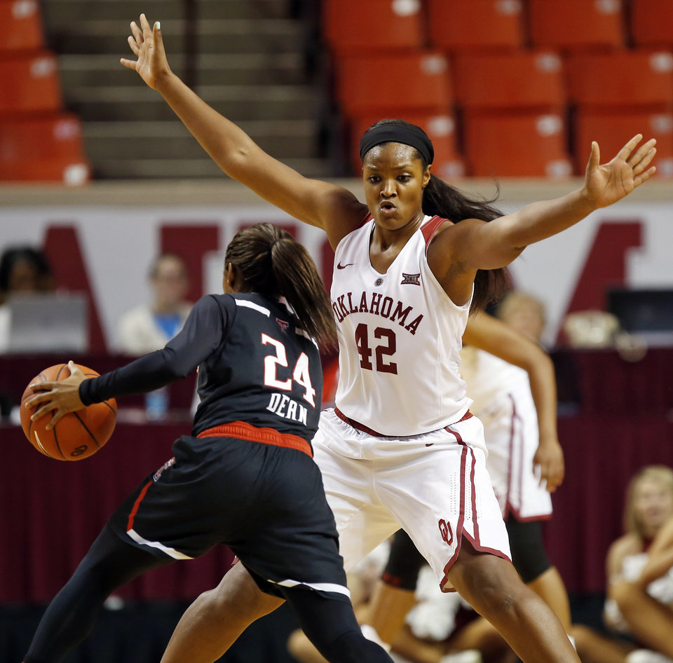 bc586f27c9c Oklahoma's Kaylon Williams (42) defends Texas Tech's Japreece Dean (24)  during a