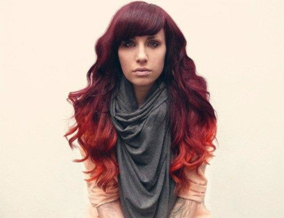 Photo - Sunset ombre hair color treatment. Photo from http://blog.hypnoticsalon.com.