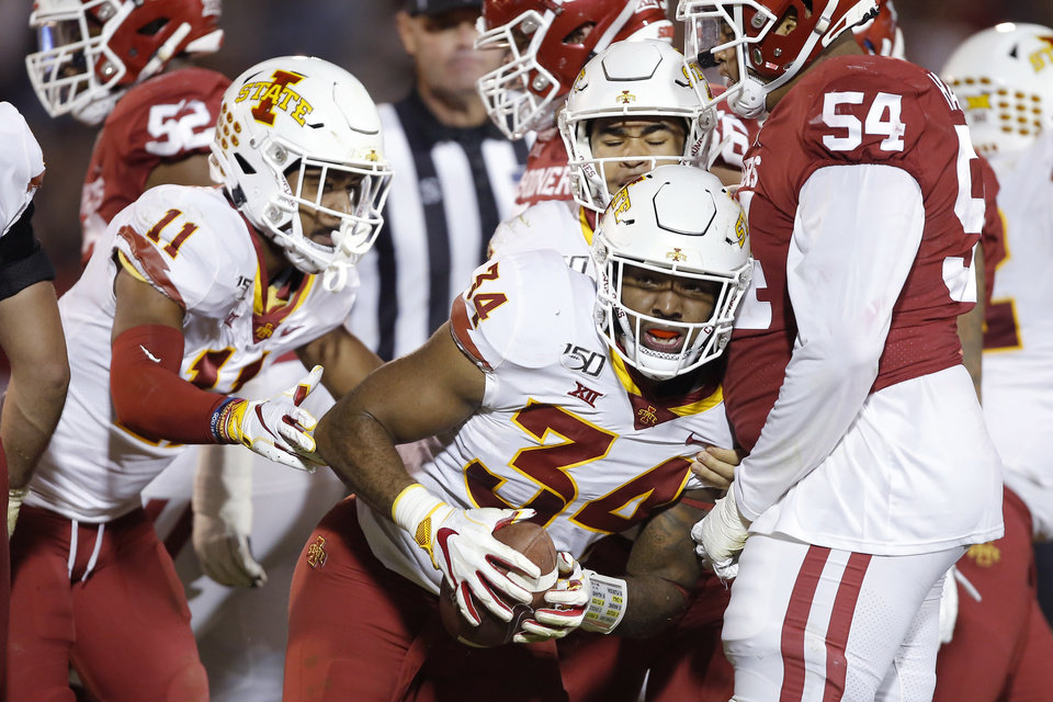 Photo - Iowa State's O'Rien Vance (34) celebrates after recovering a fumble during an NCAA football game between the University of Oklahoma Sooners (OU) and the Iowa State University Cyclones at Gaylord Family-Oklahoma Memorial Stadium in Norman, Okla., Saturday, Nov. 9, 2019. [Bryan Terry/The Oklahoman]