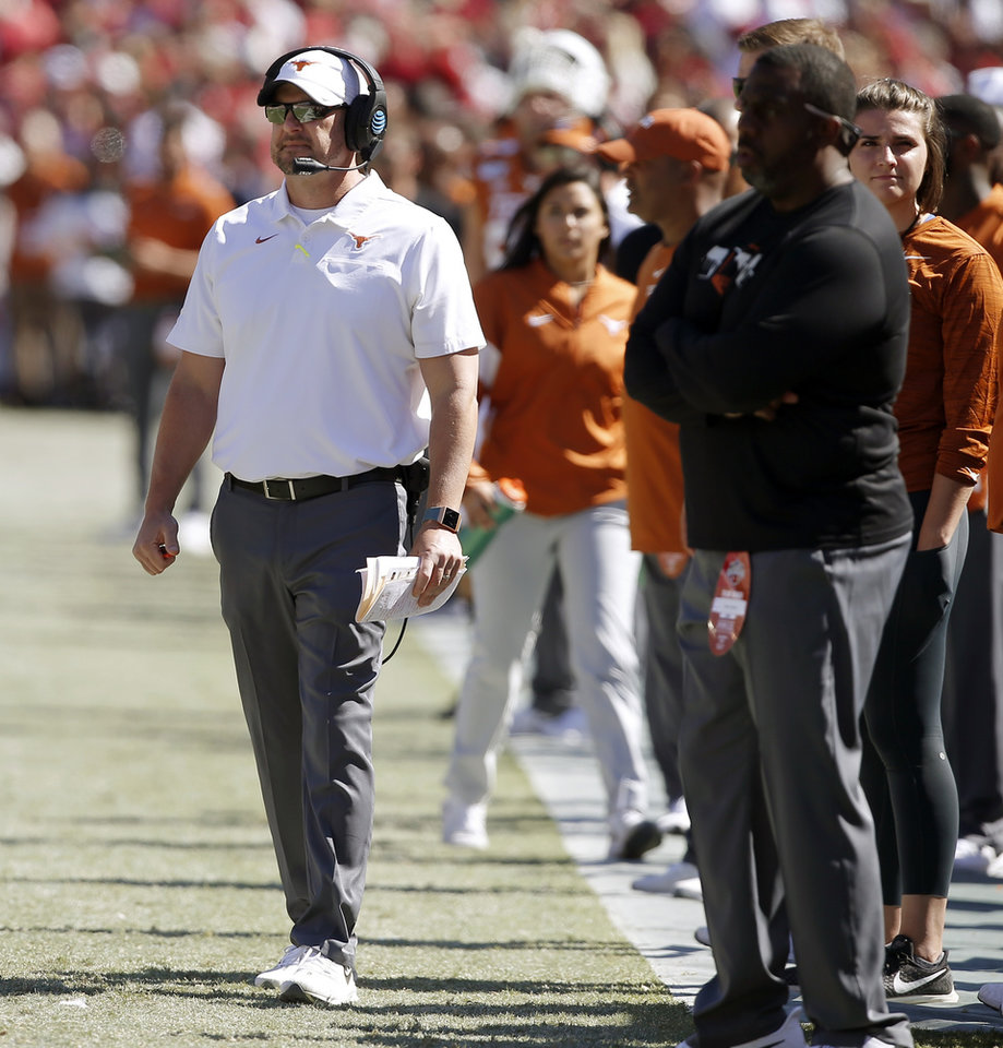 Photo -  Texas coach Tom Herman and the Longhorns are projected to finish third in the Big 12. [Bryan Terry/The Oklahoman]