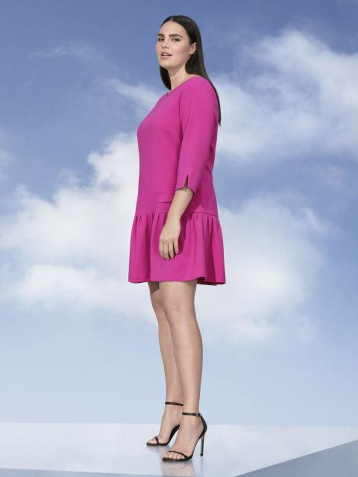 Photo - Women's Plus fuchsia jacquard dress, $40, by Victoria Beckham for Target. [Photo Provided]