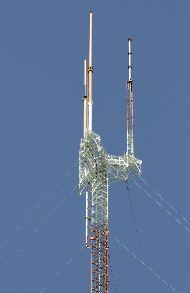 Photo - TV antennas in Oklahoma City are shown.